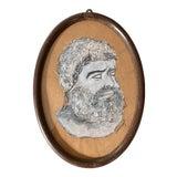 Image of Vintage Original Memo Faraj Hercules Bust Sketch Painting For Sale