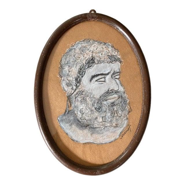 Vintage Original Memo Faraj Hercules Bust Sketch Painting For Sale