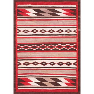 "1920s Antique Navajo Rug 4' 0"" X 5' 5"" For Sale"