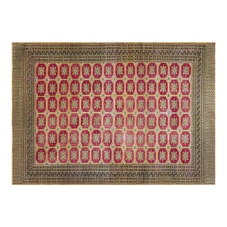 1960s Turkish Anatolian Red Beige Area Rug-9'0'' X 12'11'' For Sale
