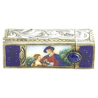 Vintage Silver & Enamel Lipstick Case and Mirror For Sale