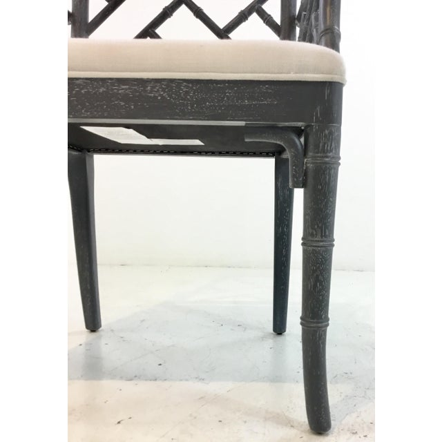 Chippendale Worlds Away Modern Chippendale Style Gray Arm Chair For Sale - Image 3 of 7