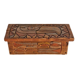 Rustically Carved Blanket Chest W/ Nw Totem Motif Circa 1950s