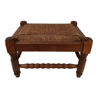 20th Century French Country Rush Seat Stool For Sale