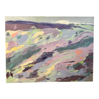 """1970s Large Abstract """"Lavender Landscape"""" Original Painting For Sale"""