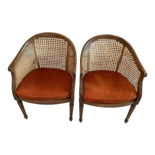 Vintage Barrel Upholster Cain Back Chairs- A Pair For Sale