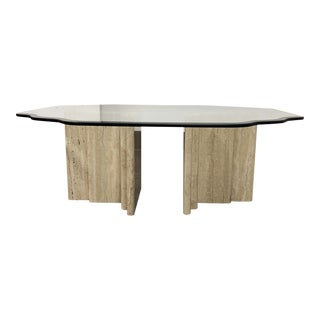 Double Travertine Base + Glass Coffee Table
