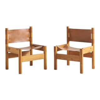 Pair of French Elm Wood + Saddle Leather Lounge Chairs For Sale