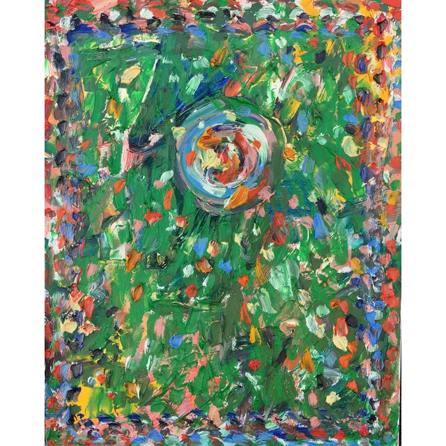 Abstract 'Green Gong' Oil Painting by Sean Kratzert For Sale
