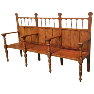 19th Century Large Pine Country Bench With Lattice Back and Three Hinged-Seats For Sale
