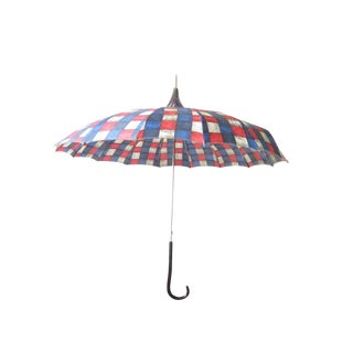 Vintage Red, White, and Blue Plaid Pagoda Umbrella