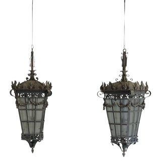 Early 20th Century Large Parisian Hanging Lanterns - a Pair For Sale