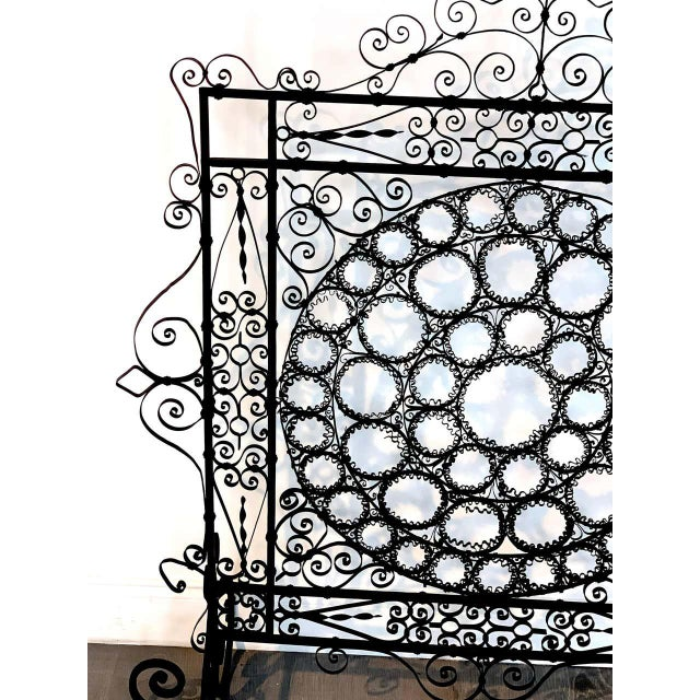 19th Century High Victorian Wrought Iron Wire Work Medallion Fires Screen For Sale - Image 5 of 13