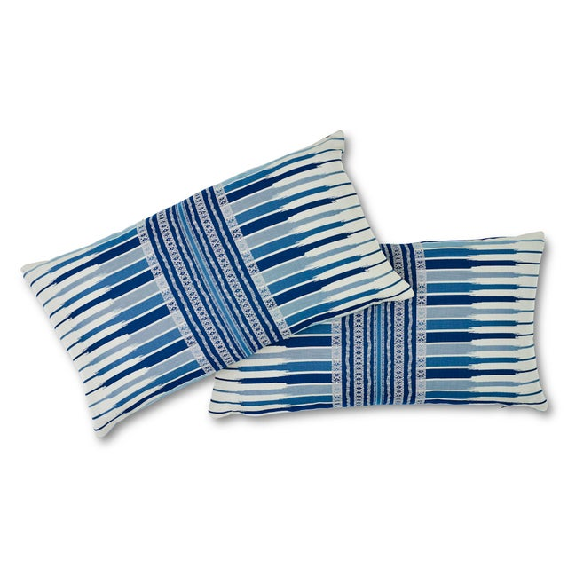 """This 14"""" x 27"""" pillow features Atchison in Blue. This double-strap woven has a sophisticated tribal aesthetic in a..."""