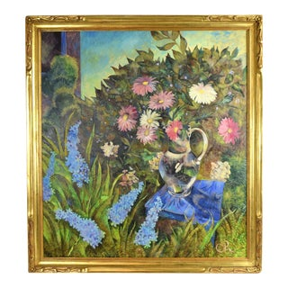 Olga Oreshnikov Flower Garden Oil Painting Russian Israeli Artist For Sale