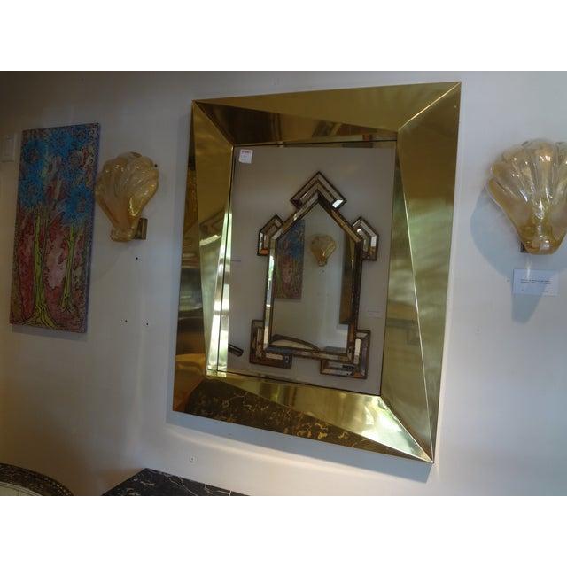 Gold Italian Brass Modernist Geometric Mirror For Sale - Image 8 of 10