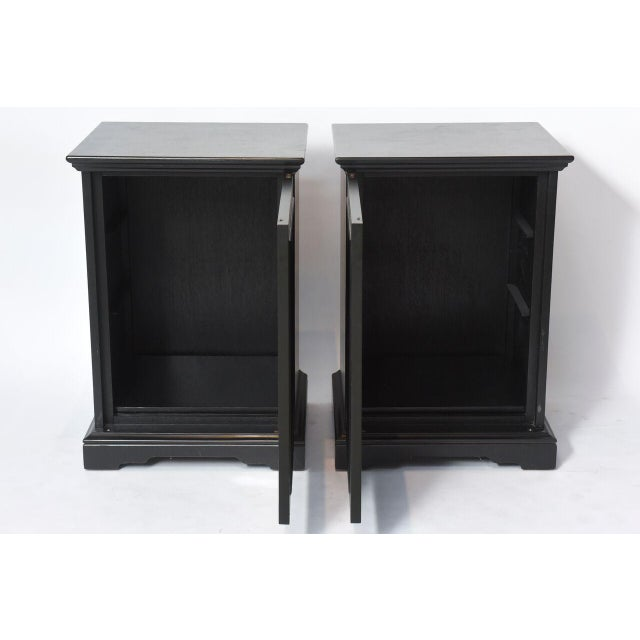 Pair of American Modern Black Lacquer Cabinets For Sale - Image 4 of 8