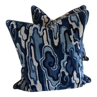 Brunschwig & Fils Blue Alto Pillow Cases - A Pair For Sale