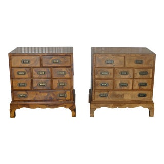 1970s Italian Oyster Veneer Campaign Chests-A Pair For Sale