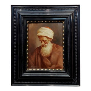 "Raphaël Chichmanian ""Portrait of an Islamic Patriarch"" Armenian Oil Painting C.1900s For Sale"