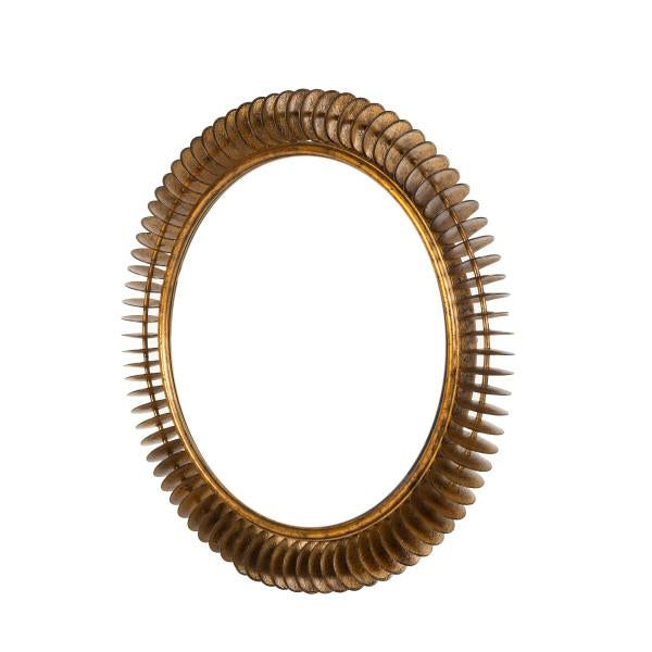 A unique, industrial style mirror crafted from individual hammered metal discs, finished in aged bronze, which add texture...