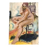 Image of Vintage Original Female Nude Expressionist Oil Painting For Sale