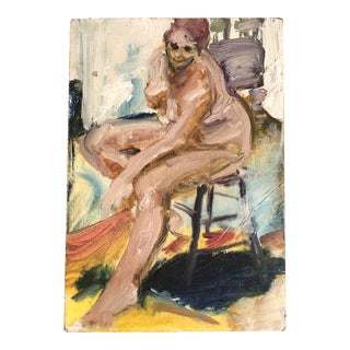 Vintage Original Female Nude Expressionist Oil Painting For Sale
