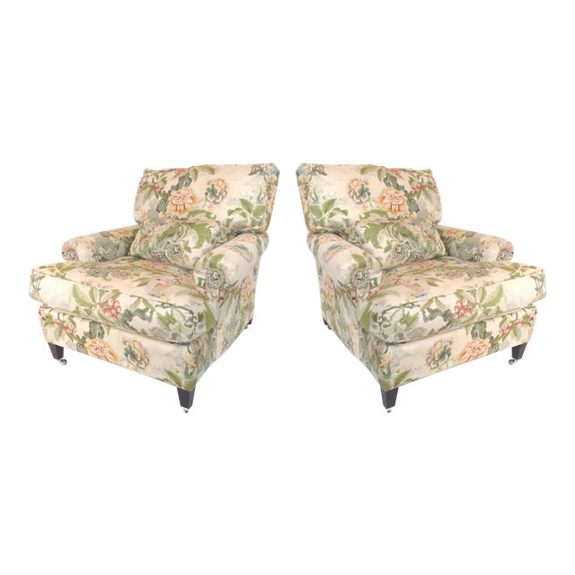 Overscale Pair of Chinoiserie Upholstered Club Chairs With Down Cushions For Sale
