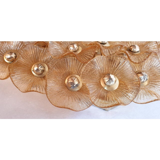 Gold Large Mid-Century Modern Murano Glass Sconces/Flush Mounts Attr to Venini - a Pair For Sale - Image 8 of 11