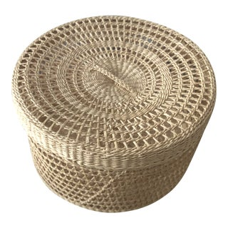 1980s Woven Basket With Top For Sale