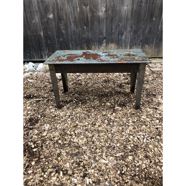 1980s Industrial Distressed Wood Table With Metal Legs For Sale - Image 5 of 13