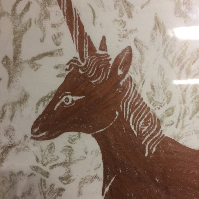 Mid-Century Framed Unicorn Rubbing For Sale - Image 5 of 8