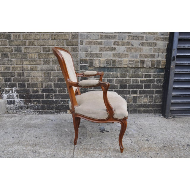 Vintage French Taupe Velvet Walnut Louis XV Rococo Style Armchair Fauteuil For Sale - Image 4 of 12