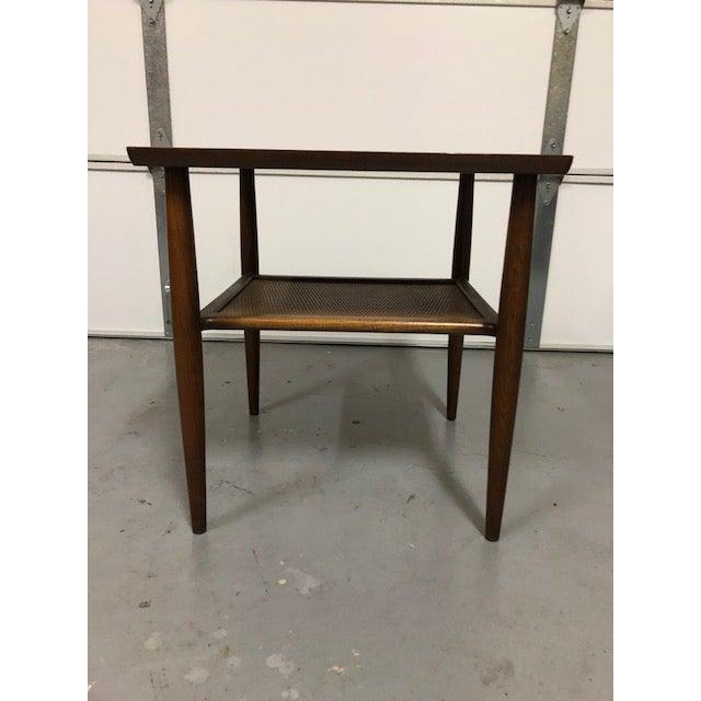 Mid Century Walnut Wicker Shelf Side Table For Sale In Los Angeles - Image 6 of 6
