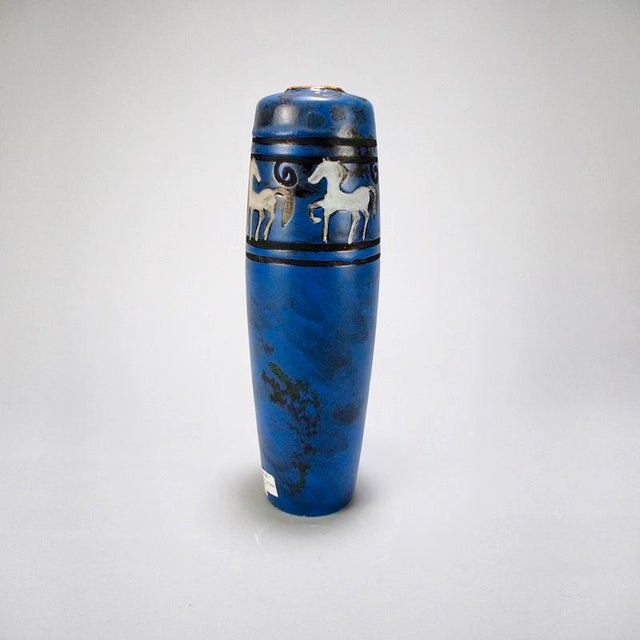 West German Blue Ceramic Vase With Stylized Horses For Sale - Image 4 of 7