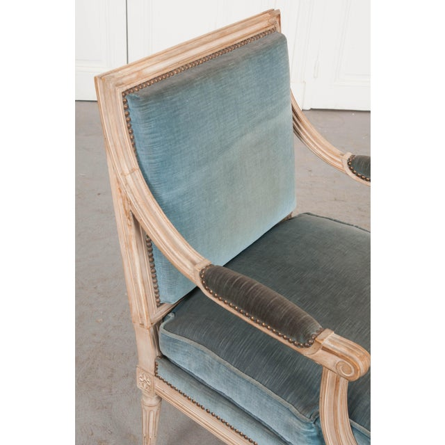 19th Century French Louis XVI Style Painted Fauteuil Chair For Sale - Image 10 of 12