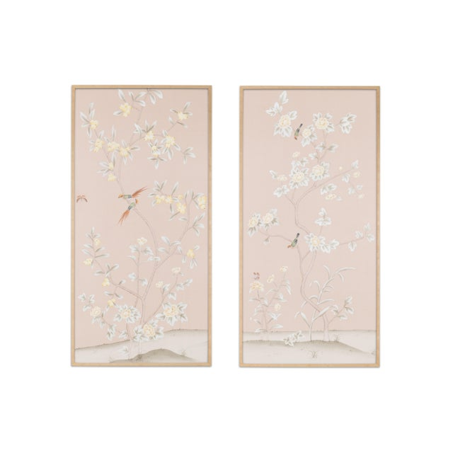 """Not Yet Made - Made To Order Simon Paul Scott Jardins en Fleur """"Pavenham Court"""" Chinoiserie Hand-Painted Silk Diptych - 2 Pieces For Sale - Image 5 of 5"""
