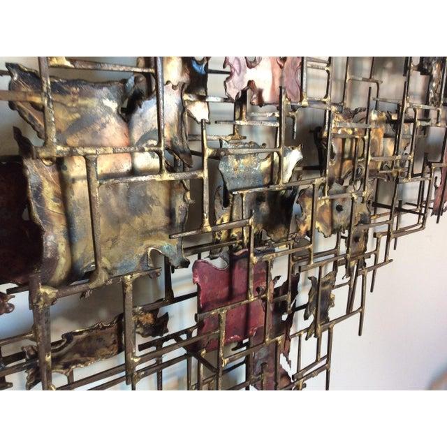"Metal Huge 72""wide Signed Silas Seandel Brutalist Nail Sculpture Wall Art Mid Century For Sale - Image 7 of 13"