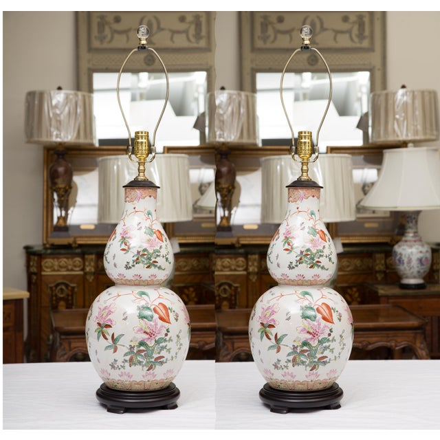 Gourd Shaped Table Lamps with Floral Designs For Sale - Image 9 of 9