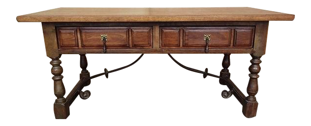 1970s Spanish Style Oak U0026 Wrought Iron Two Drawer Coffee Table