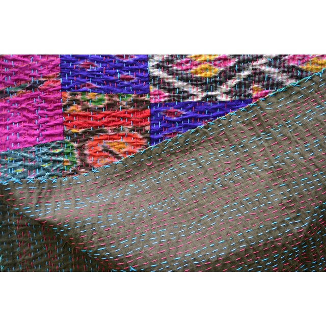 Handmade Woven Silk Sari Pieces Kantha Quilt - Image 7 of 8