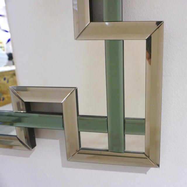 Contemporary Italian Geometric Murano Glass Mirror With Aqua Green Ribbon For Sale In New York - Image 6 of 13