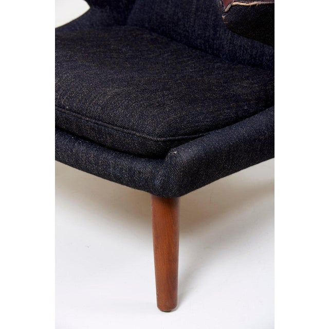 Fabric Hans J. Wegner Papa Bear Chair in Black Fabric For Sale - Image 7 of 10