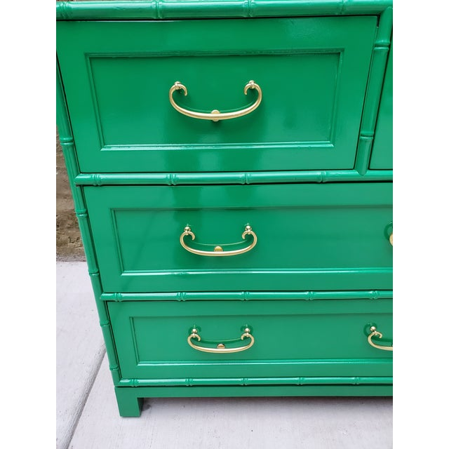 Asian 1970s Regency Bamboo Green Lacquer Dresser For Sale - Image 3 of 13