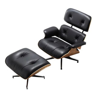 Mid-Century Modern Herman Miller Leather Chair & Ottoman For Sale