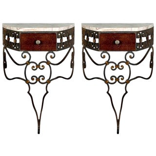 French Wrought Iron and Marble Wall Mounted Console Tables - a Pair For Sale