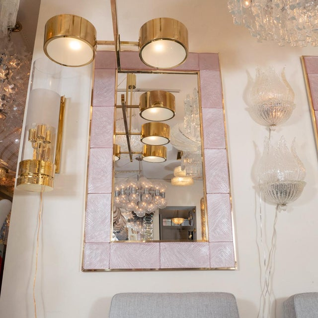 Contemporary Pink Textured Glass Surround Mirror from Italy For Sale - Image 3 of 5