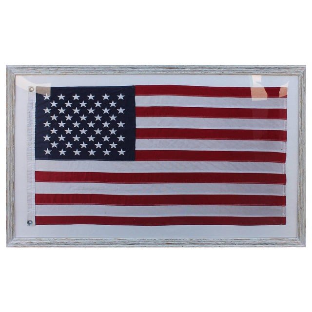 Mid-20th Century 50 Star American Ships Flag with Custom Frame - Image 1 of 5