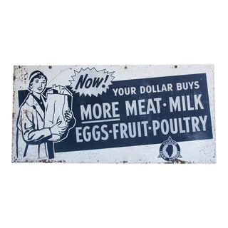 XL 1950's Metal Advertising Sign For Sale