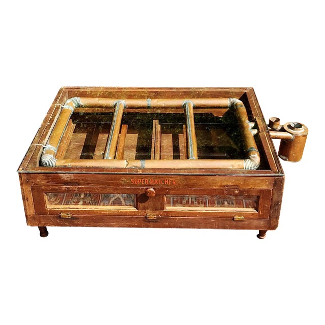 Primitive Super Hatcher Farm Copper Steam Incubator Farmhouse Coffee Table For Sale
